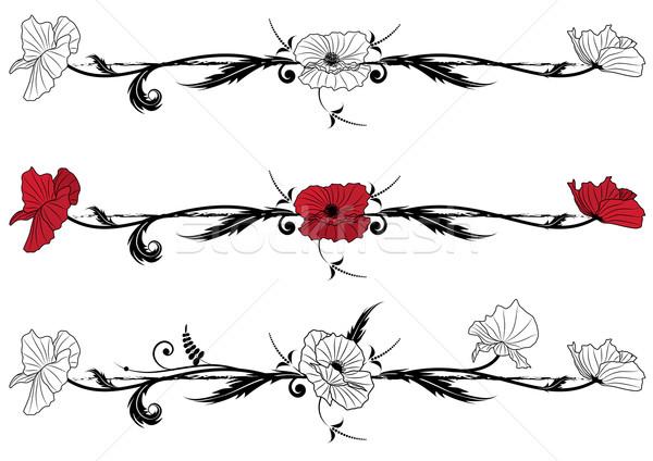 Szett virágmintás pipacs vektor fekete piros Stock fotó © tanais