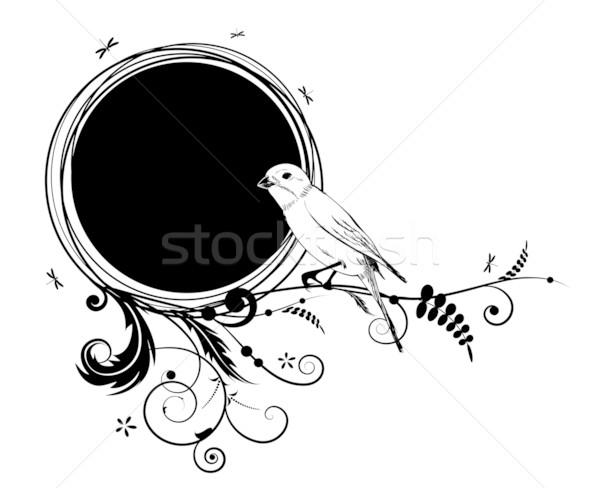 Floreale uccello bianco nero fiore nero retro Foto d'archivio © tanais