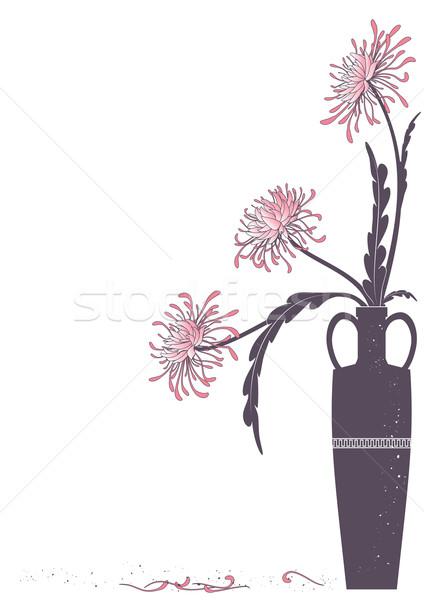 Váza háttér klasszikus rózsaszín ág ősi Stock fotó © tanais