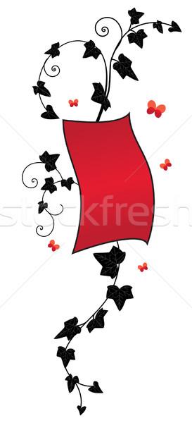 Ivy banner vettore floreale nero rosso Foto d'archivio © tanais
