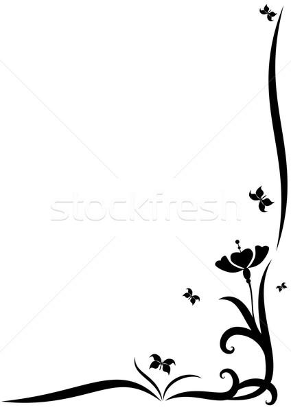 Virág pillangók stilizált vektor keret virágok Stock fotó © tanais