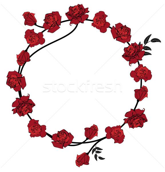 Virágmintás vörös rózsák keret vektor virágok esküvő Stock fotó © tanais