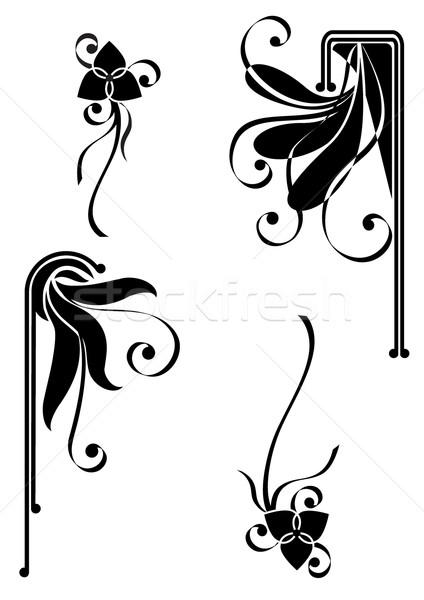 çiçekler siyah model dekoratif dizayn Stok fotoğraf © tanais