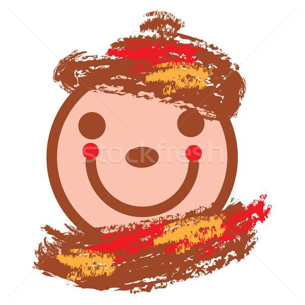 Uśmiechnięta twarz ciepły kolory wektora jesienny ilustracja Zdjęcia stock © tanais