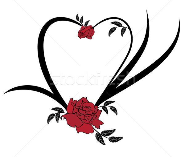 Valentin nap keret rózsák vektor fekete piros Stock fotó © tanais