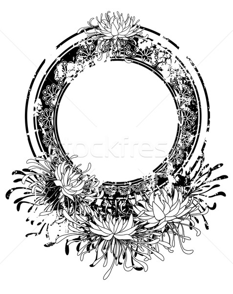 Rahmen Chrysantheme Vektor schwarz weiß Farbe Design Stock foto © tanais