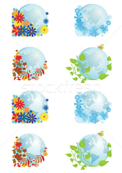 Stockfoto: Ingesteld · globes · vector · illustraties · wereldbol