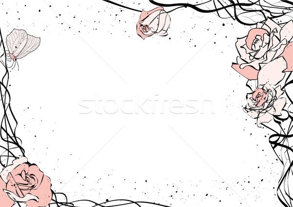 Rózsák pillangó vektor rózsaszín szeretet fekete Stock fotó © tanais