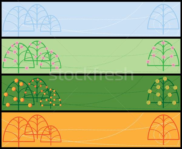 Cztery pory roku zestaw wektora banery wiosną streszczenie Zdjęcia stock © tanais