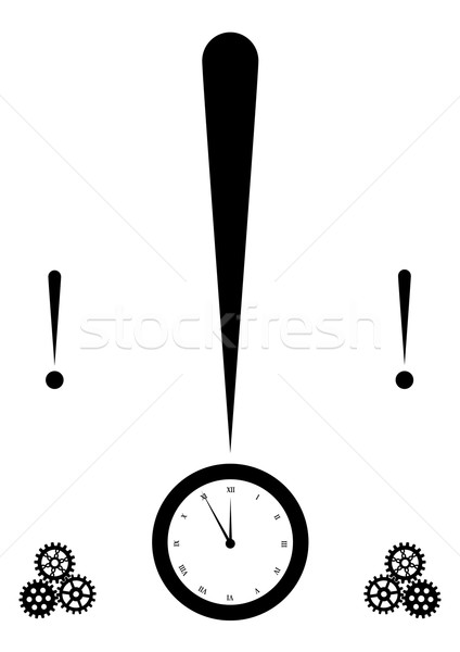Punto esclamativo clock design nero concetto vettore Foto d'archivio © tanais