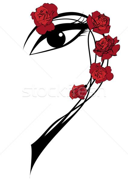 Rózsák szem vektor keret piros feketefehér Stock fotó © tanais