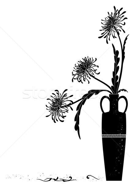 meander  vase with black golden-daisy Stock photo © tanais