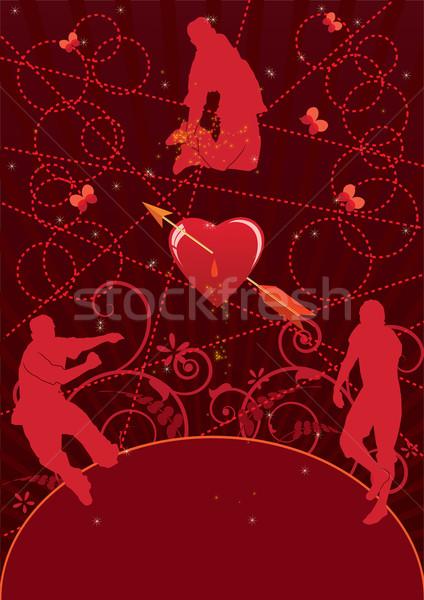 Valentin nap buli vektor skicc tánc emberek Stock fotó © tanais