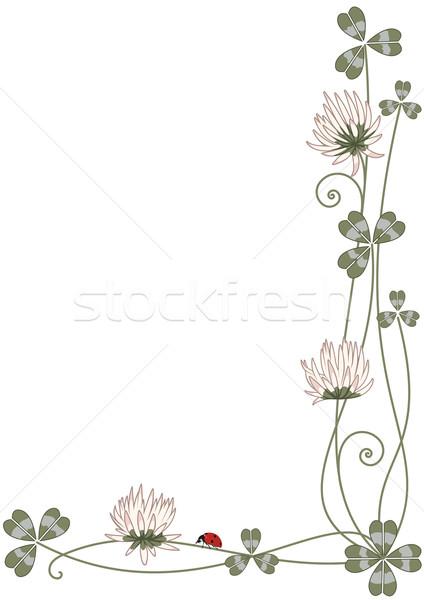 Keret lóhere katicabogár vektor sarok terv Stock fotó © tanais