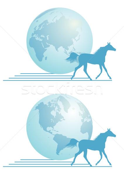 速達便 地図 馬 世界 青 通信 ストックフォト © tanais
