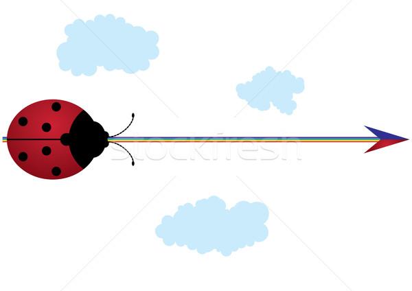 Katicabogár szivárvány nyíl vektor keret felirat Stock fotó © tanais