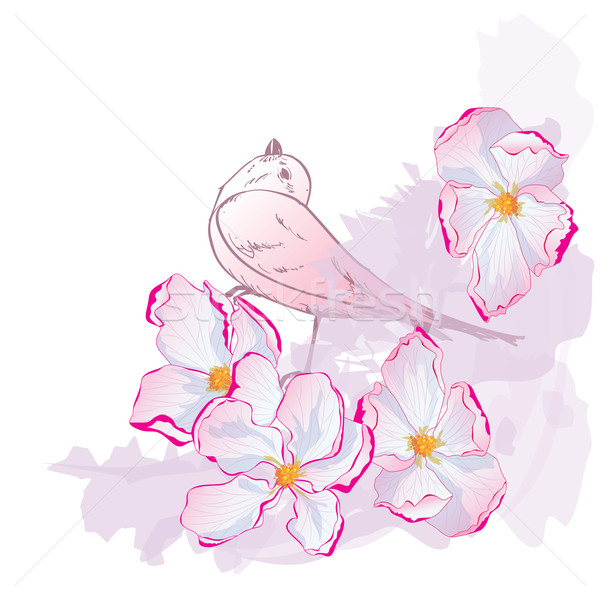 floral pattern with bird Stock photo © tanais