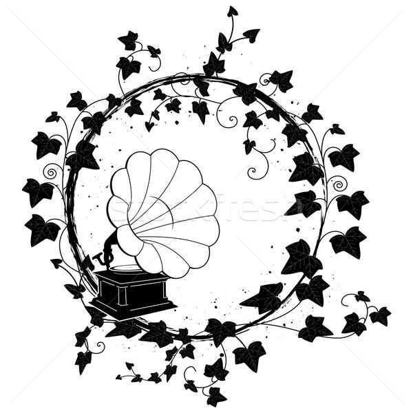 Klimop frame grammofoon vector tak blad Stockfoto © tanais