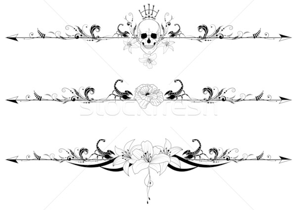 Stock photo: set of gothic borders