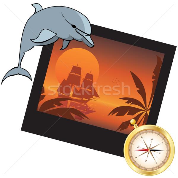 dolphin, compass and  photoframe Stock photo © tanais
