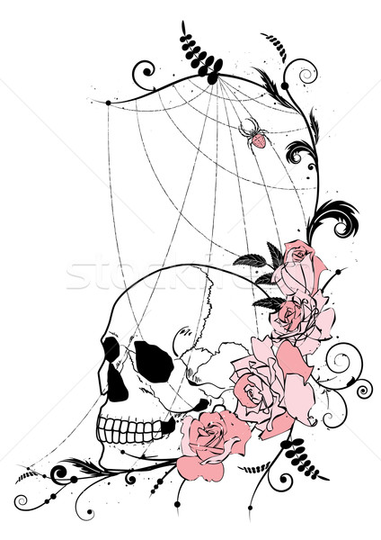 Stock photo: skull and roses