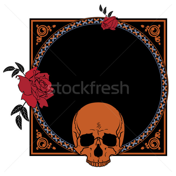 Stock photo: frame with roses and skull