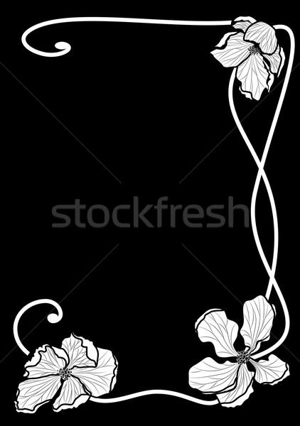 Kwiatowy wektora granicy jabłko kwiaty czarno białe Zdjęcia stock © tanais