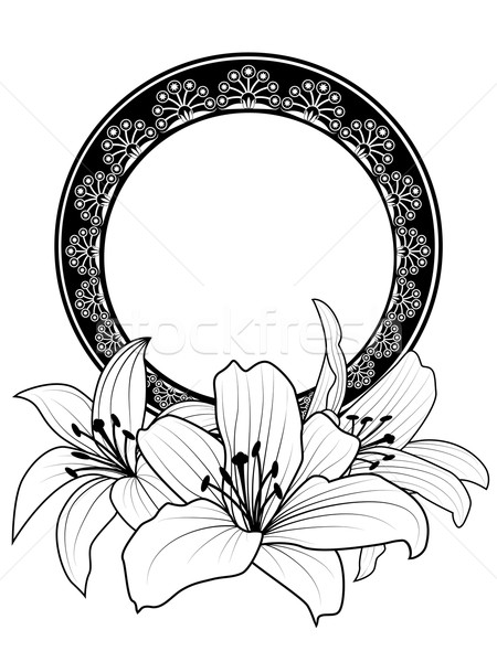 floral frame with lilies Stock photo © tanais