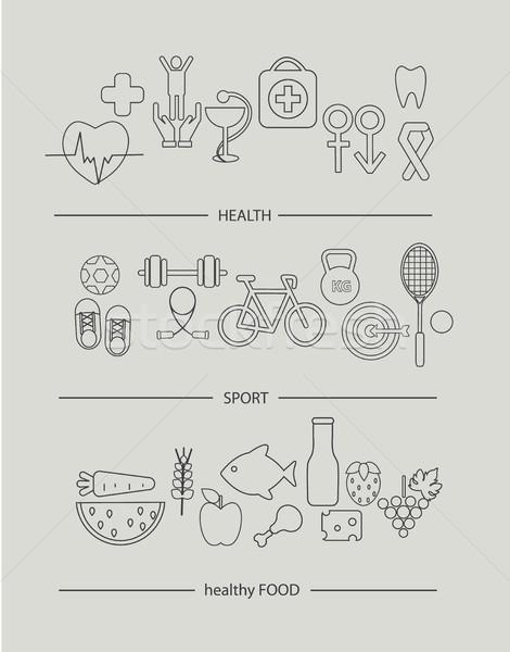 Modern thin line icons set of health lifestyle Stock photo © tandaV