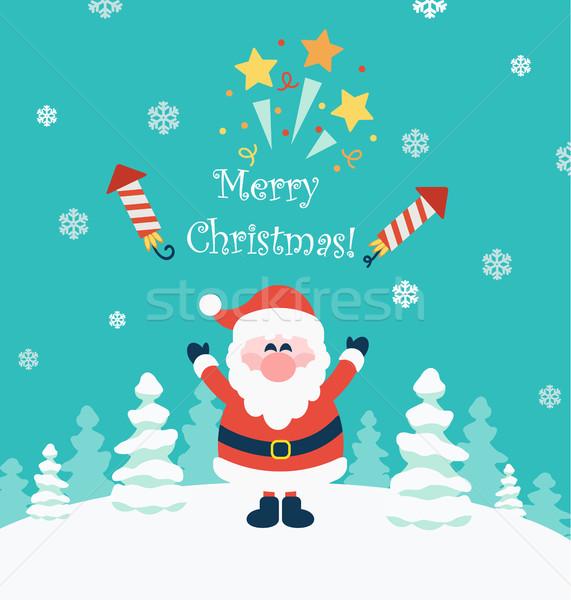 веселый Рождества вектора пейзаж деревья Сток-фото © tandaV