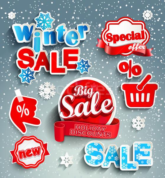 Inverno vendita rosso realistico nastro adesivo Foto d'archivio © tandaV