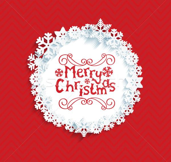フレーム 雪 影 陽気な クリスマス ストックフォト © tandaV