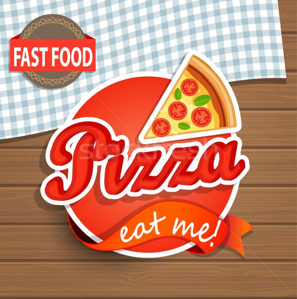 пиццы Label знак древесины дизайн шаблона дизайна Сток-фото © tandaV