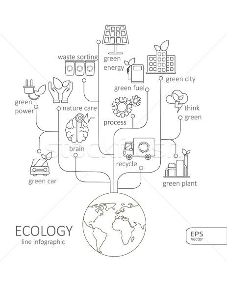 Eenvoudige lineair pictogram eco boom Stockfoto © tandaV