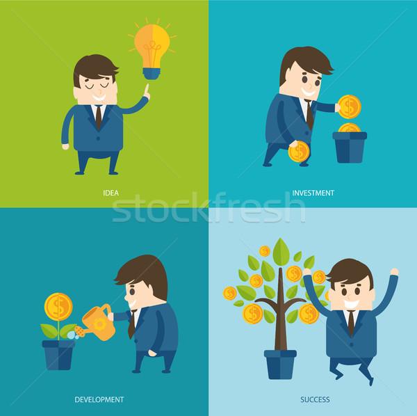 стиль бизнесмен Идея растений монетами Сток-фото © tandaV