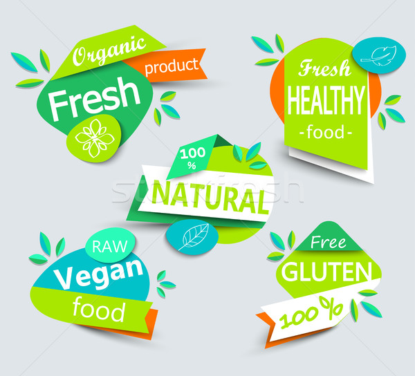 Stock photo: Modern vector set of healthy organic food labels.