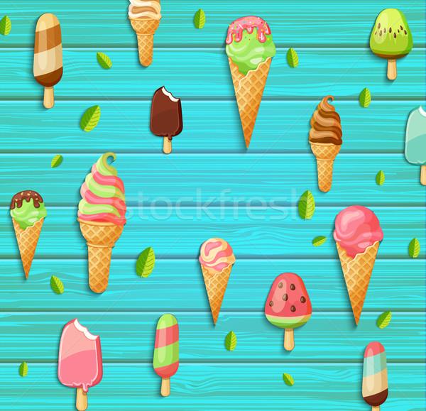 カラフル パターン アイスクリーム 葉 青 木製 ストックフォト © tandaV