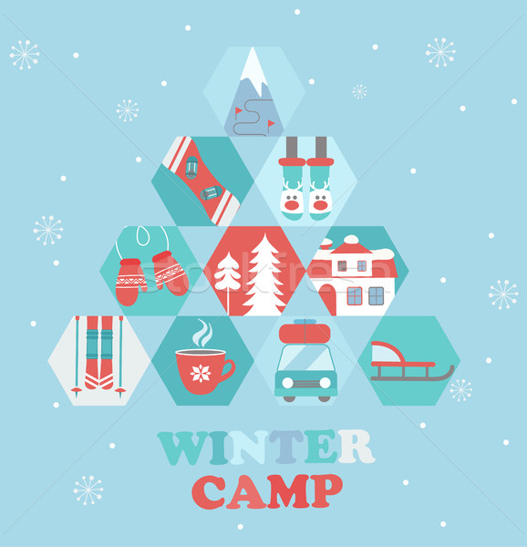 Рождества праздник путешествия лагерь плакат стиль Сток-фото © tandaV