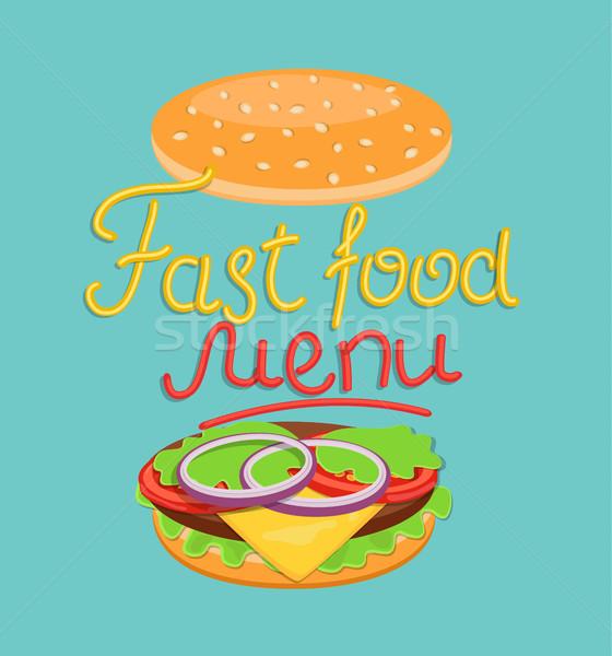 быстрого питания меню слово вверх желтый красный Сток-фото © tandaV