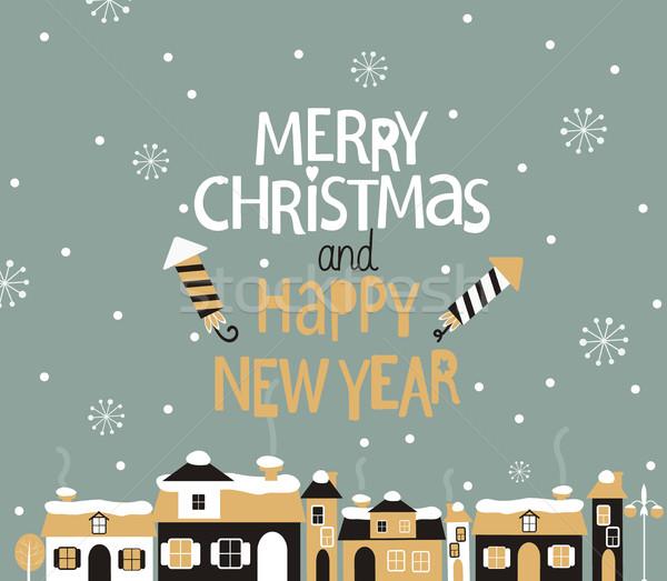 зима города приветствие веселый Рождества с Новым годом Сток-фото © tandaV