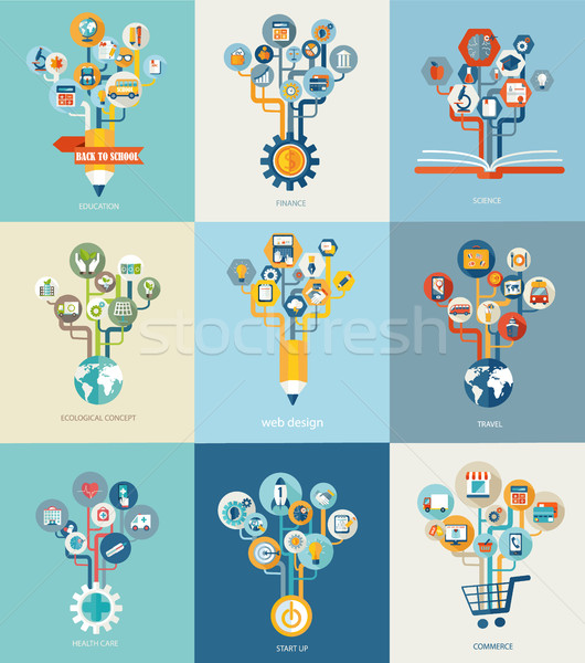 Stock photo: Abstract trees with icons for web design.