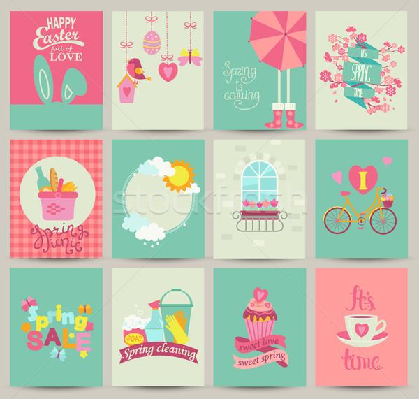 Gyűjtemény 12 tavasz kártya sablonok plakátok Stock fotó © tandaV