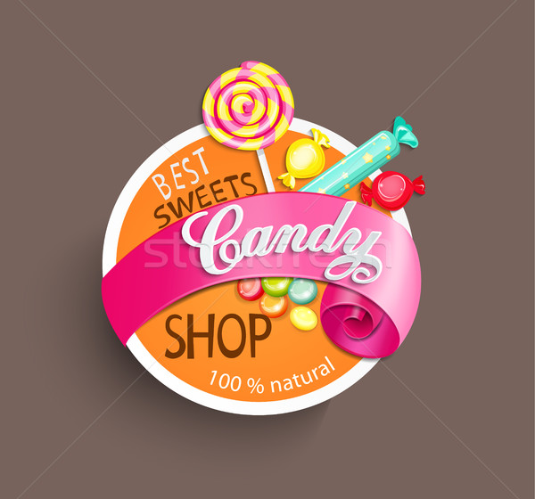 Doce compras etiqueta papel fita comida Foto stock © tandaV