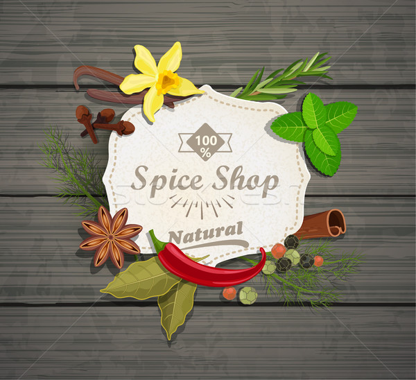 Spice shop paper vintage frame. Stock photo © tandaV
