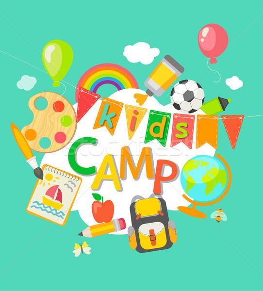 Obóz letni plakat projektu piłka nożna tle lata Zdjęcia stock © tandaV