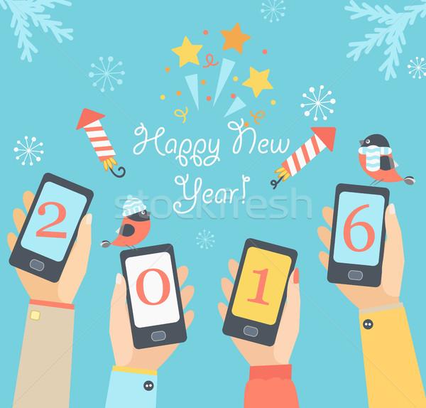 рождество Новый год праздников дизайна мобильных приложения Сток-фото © tandaV