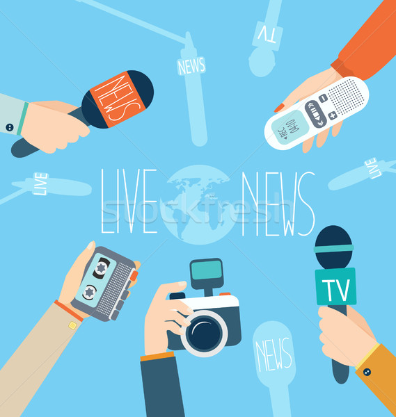 Journalism concept, vector. Live News. Stock photo © tandaV