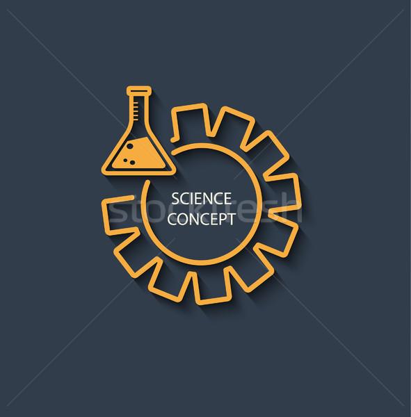 икона науки логотип желтый пробирку Gear Сток-фото © tandaV