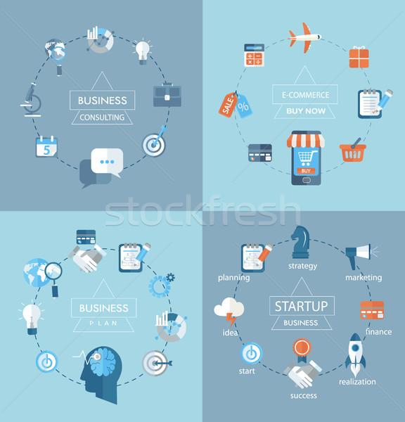 набор бизнеса дизайна современных Инфографика Сток-фото © tandaV