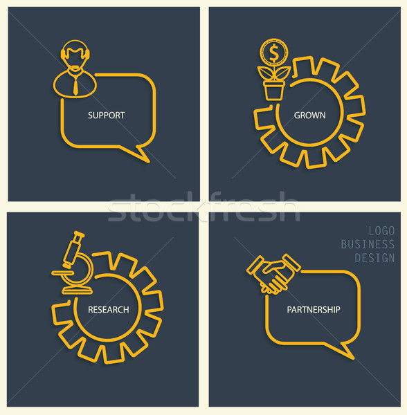 Support, business, research, partnership signs. Stock photo © tandaV